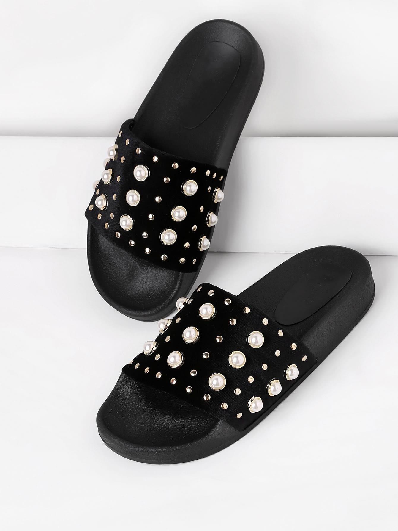 Faux Pearl Embellished Slip On Sandals faux pearl detail slip on plimsolls