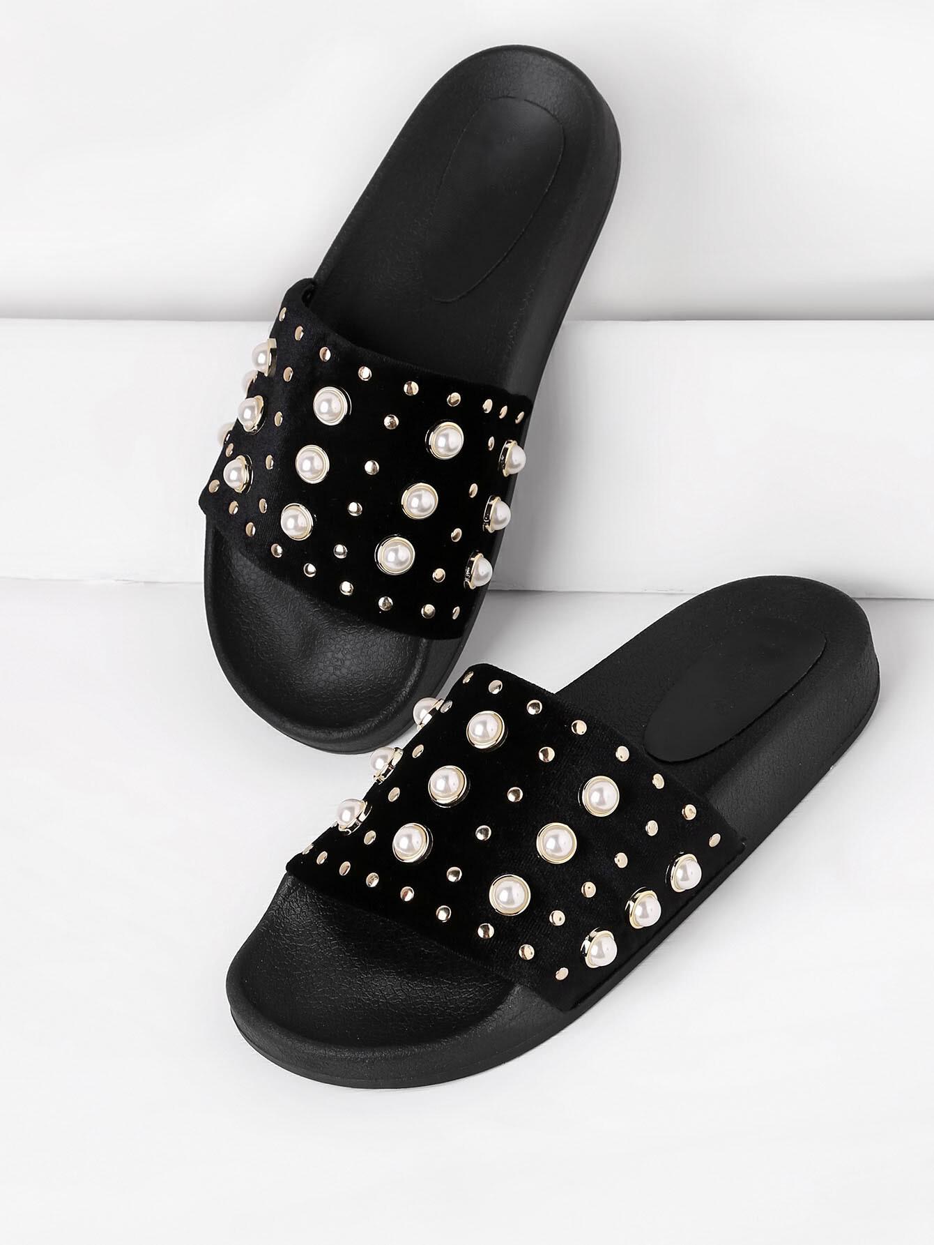 Faux Pearl Embellished Slip On Sandals