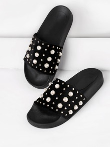 Faux Pearl Embellished Slip On Sandals