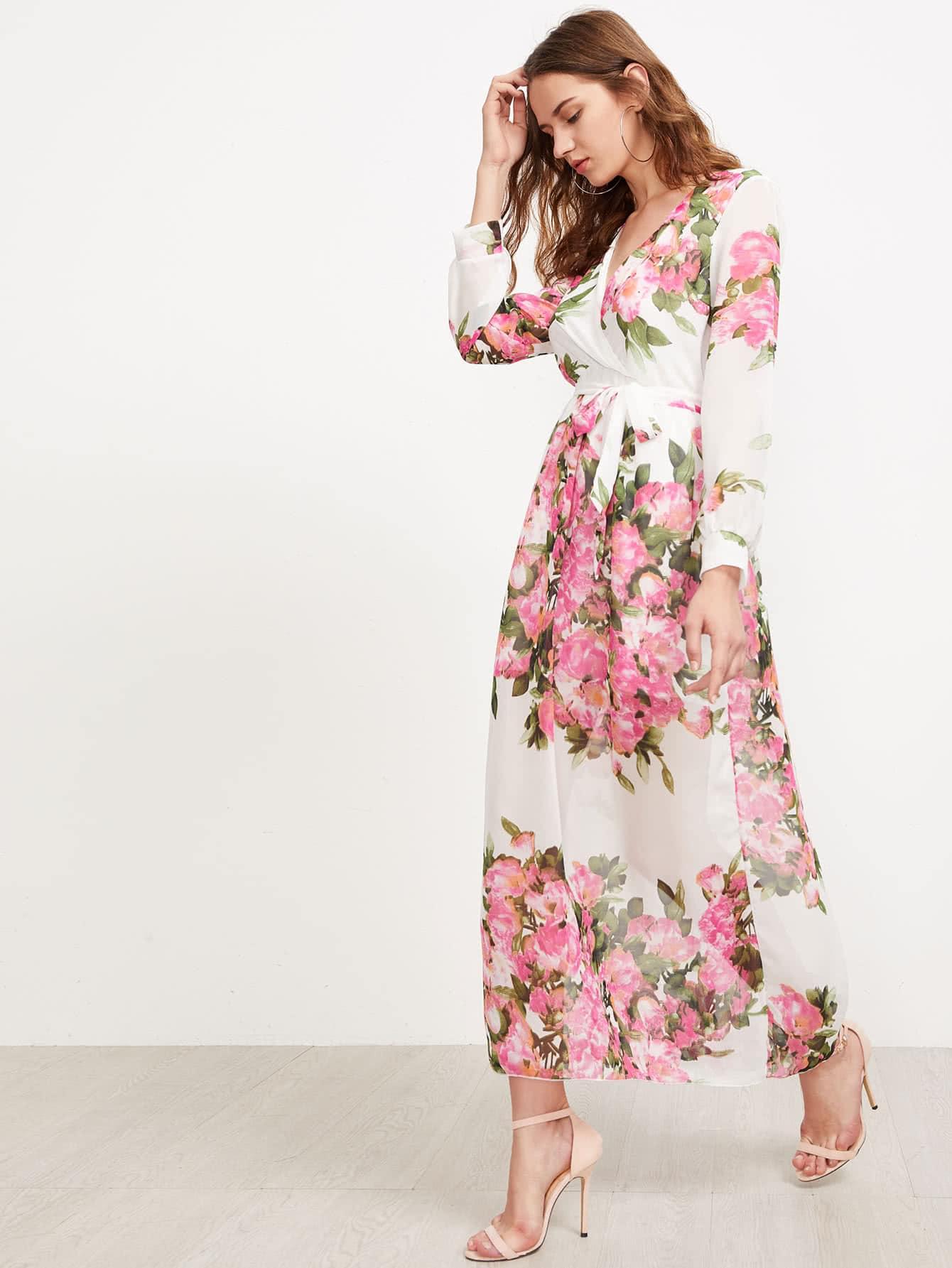 Surplice Neckline Florals Self Tie Chiffon Dress