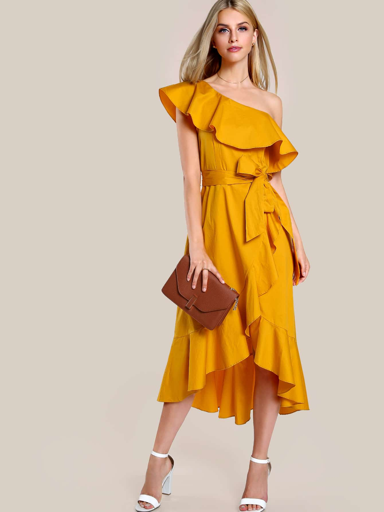 Ruffle Hem Single Shoulder Overlap Dress ruffle hem overlap gingham skirt