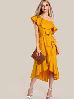 Ruffle Hem Single Shoulder Dress MUSTARD