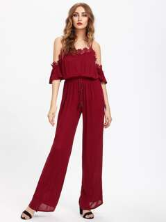 Lace Trim Bell Sleeve Tasseled Waist Jumpsuit