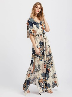Split Sleeve Tropical Print Kimono Dress