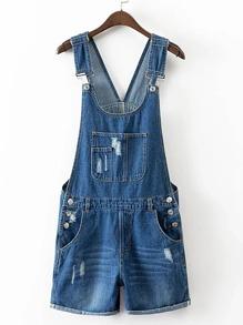 Distressed Cuffed Denim Overall Shorts