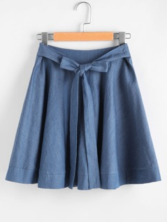 Self Belted Chambray Circle Skirt