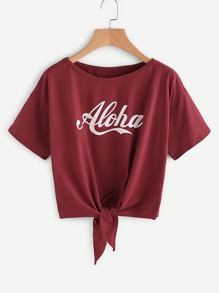 Letter Print Knot Front Tee