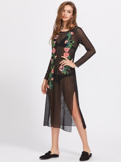 Applique Embellished Sheer Dress
