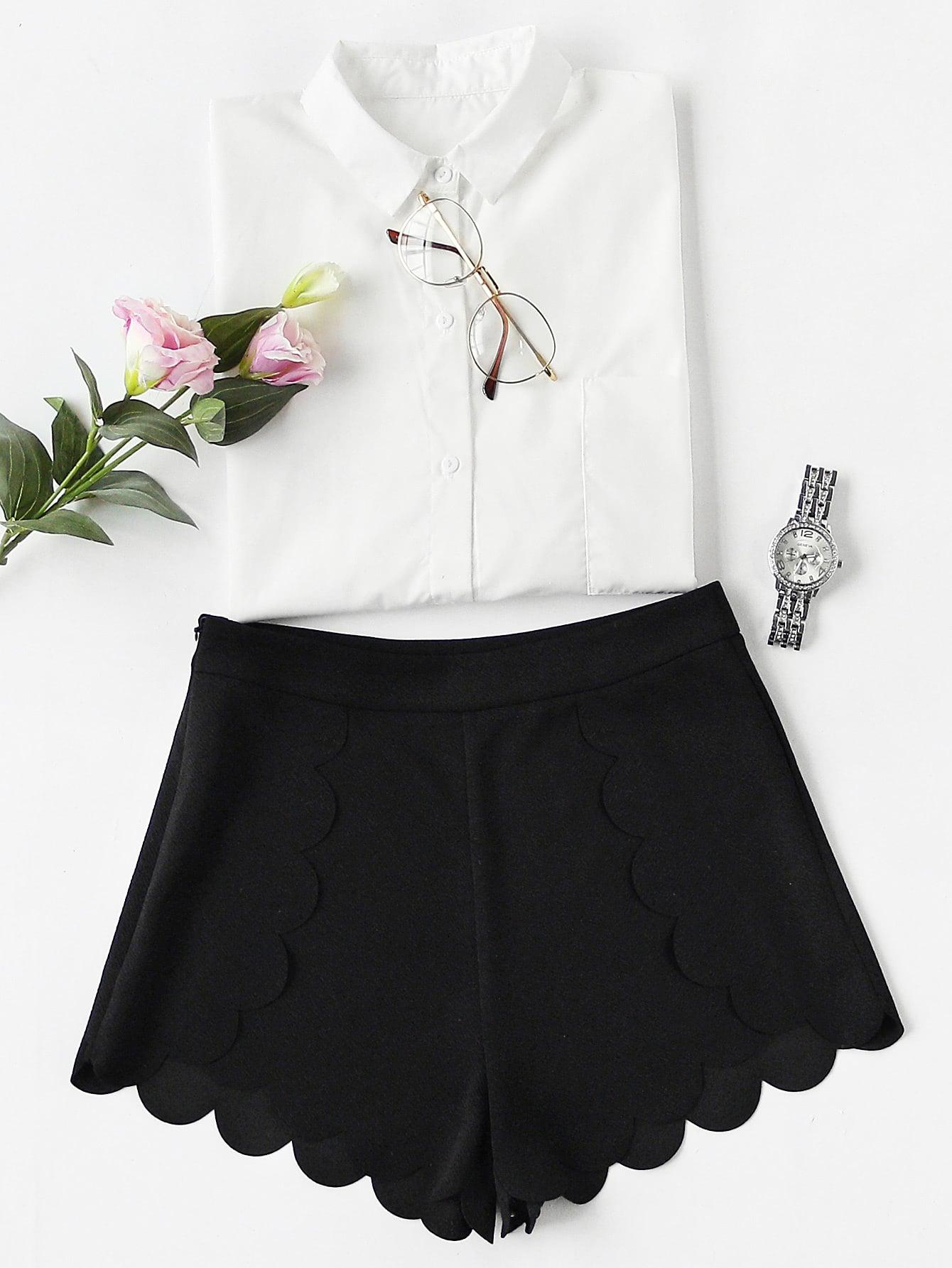 Фото Scallop Edge Tailored Wrap Shorts. Купить с доставкой