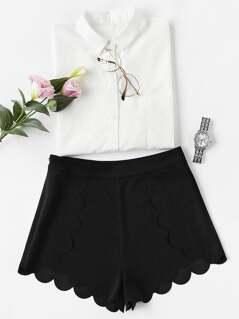 Scallop Edge Tailored Wrap Shorts