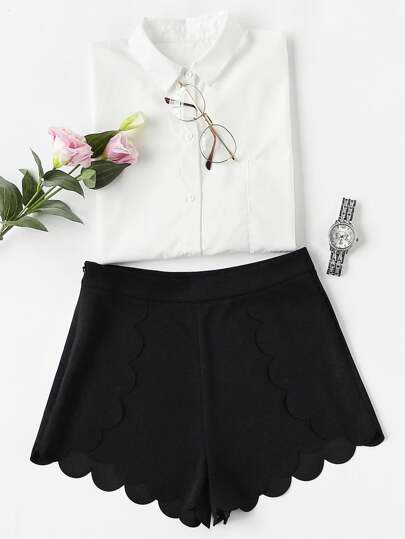 Scallop Edge Tailored Wrap Shorts