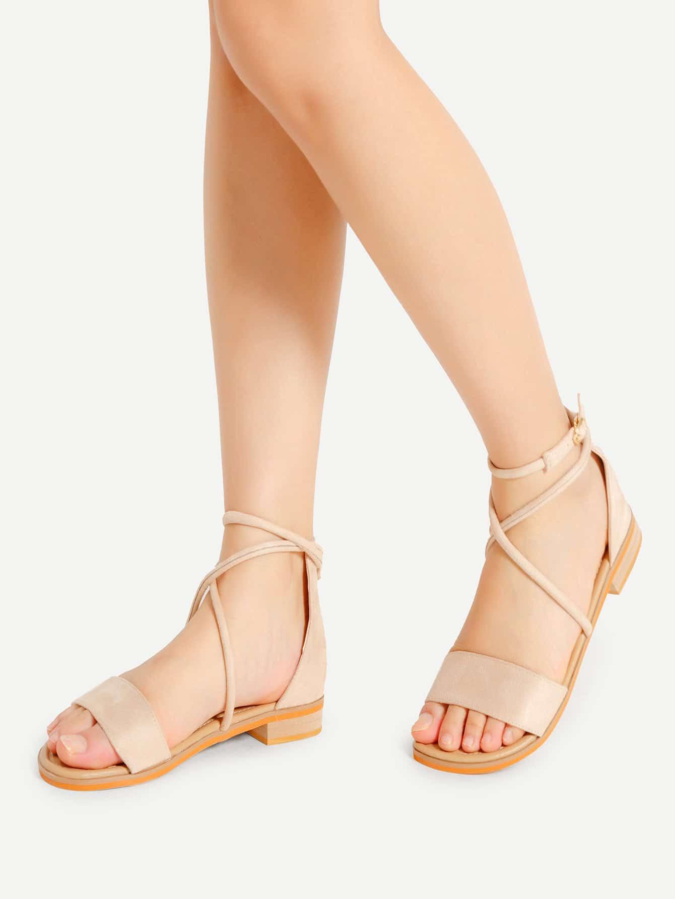 Open Toe Criss Cross Flat Sandals thumbnail