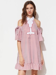 Contrast Collar Bow Open Shoulder Silhouette Embroidery Dress