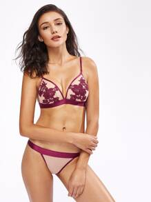 Flower Embroidered Patch Contrast Binding Bra Set