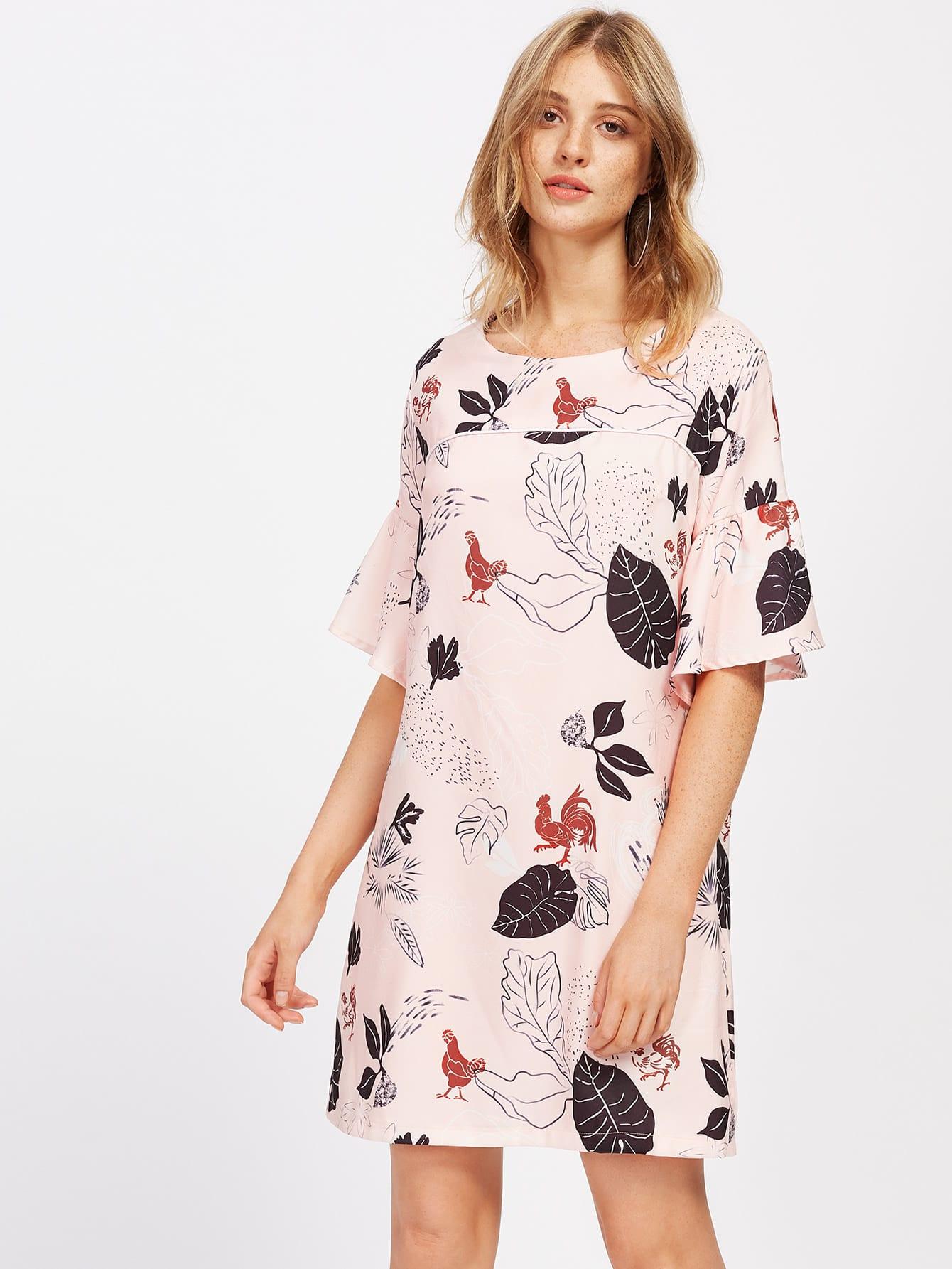 Фото Bell Sleeve Flower Print Dress. Купить с доставкой