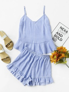Flounce Trim Pinstripe Cami Top And Shorts Co-Ord