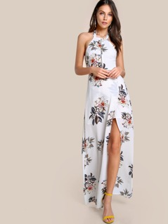 Floral Print Cut Out Tie Up Dress OFF WHITE