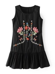 Flower Embroidery Ruffle Hem Dress