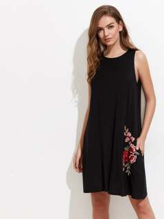 Embroidered Flower Patch Swing Tank Dress