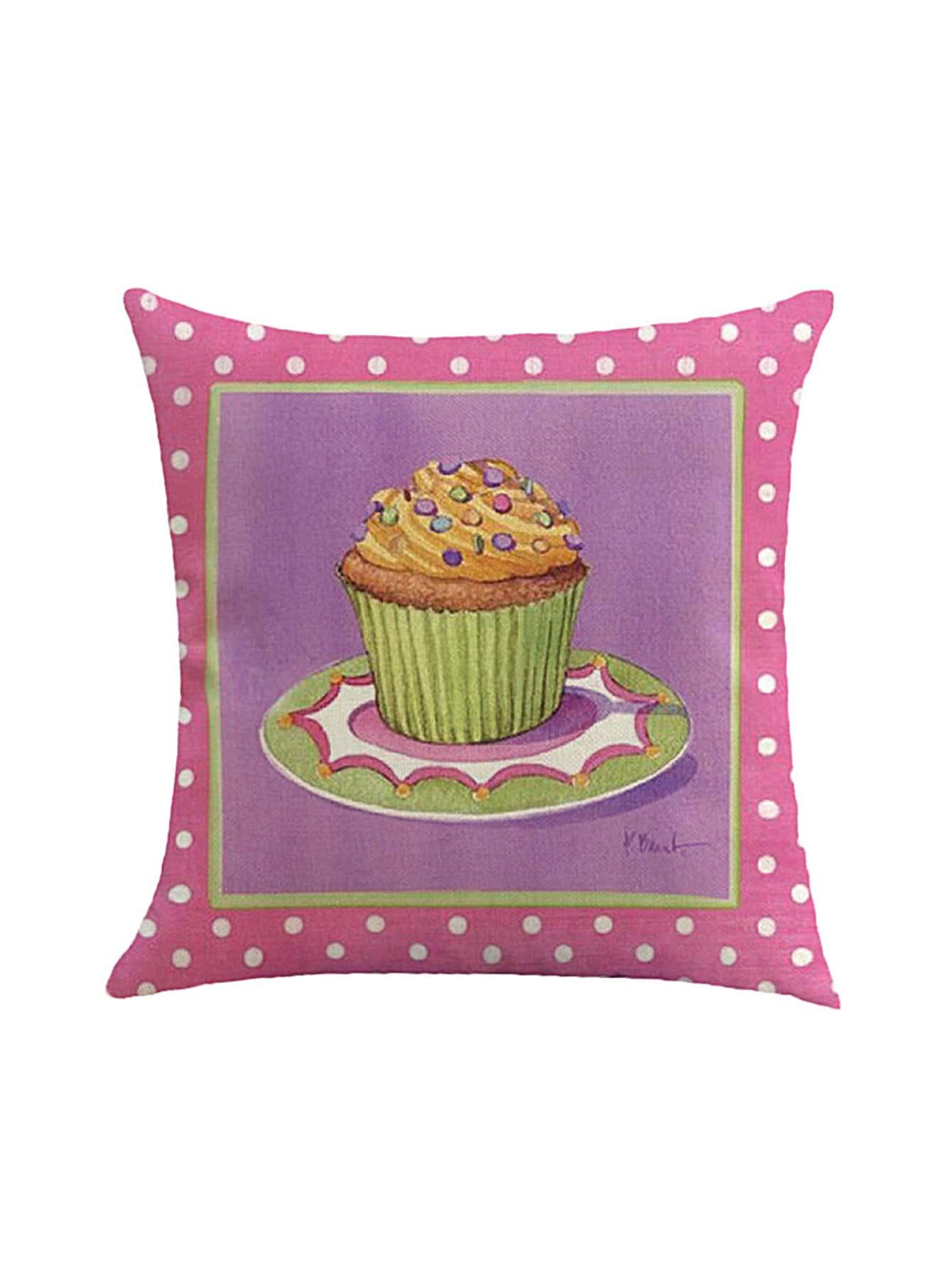 Фото Polka Dot & Cake Print Pillowcase Cover. Купить с доставкой