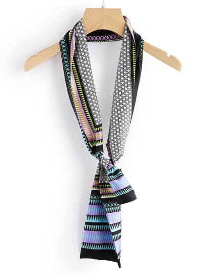 Graphic Print Satin Skinny Scarf