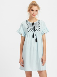 Tassel Tie Embroidered Yoke Frilled Smock Dress pictures