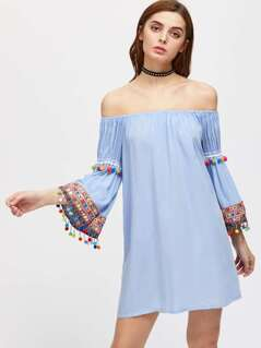 Embroidered Tape And Pom Pom Detail Trumpet Sleeve Bardot Dress