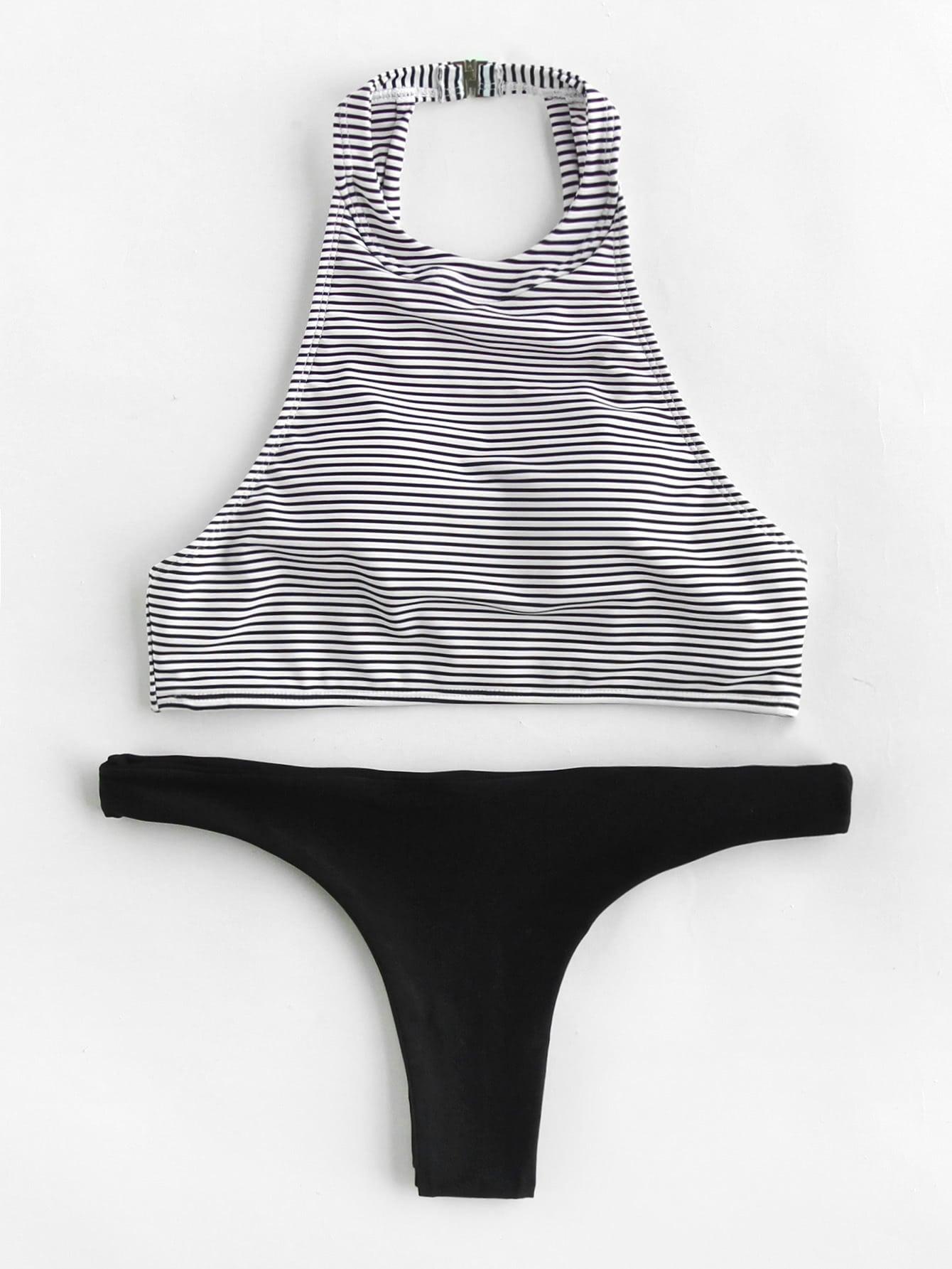 Striped High Leg Mix And Match Bikini Set small beginnings mix and match