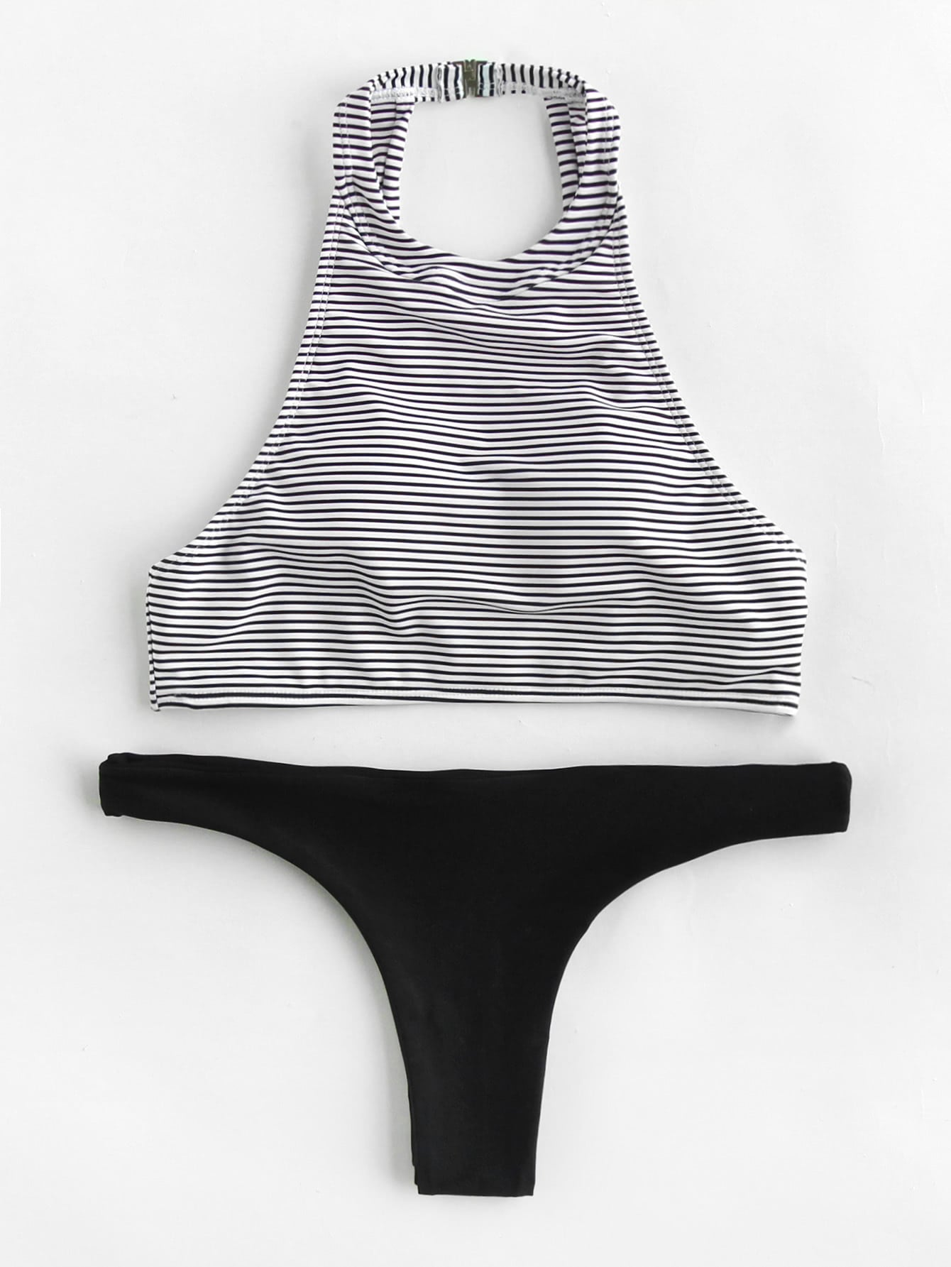 все цены на Striped High Leg Mix And Match Bikini Set