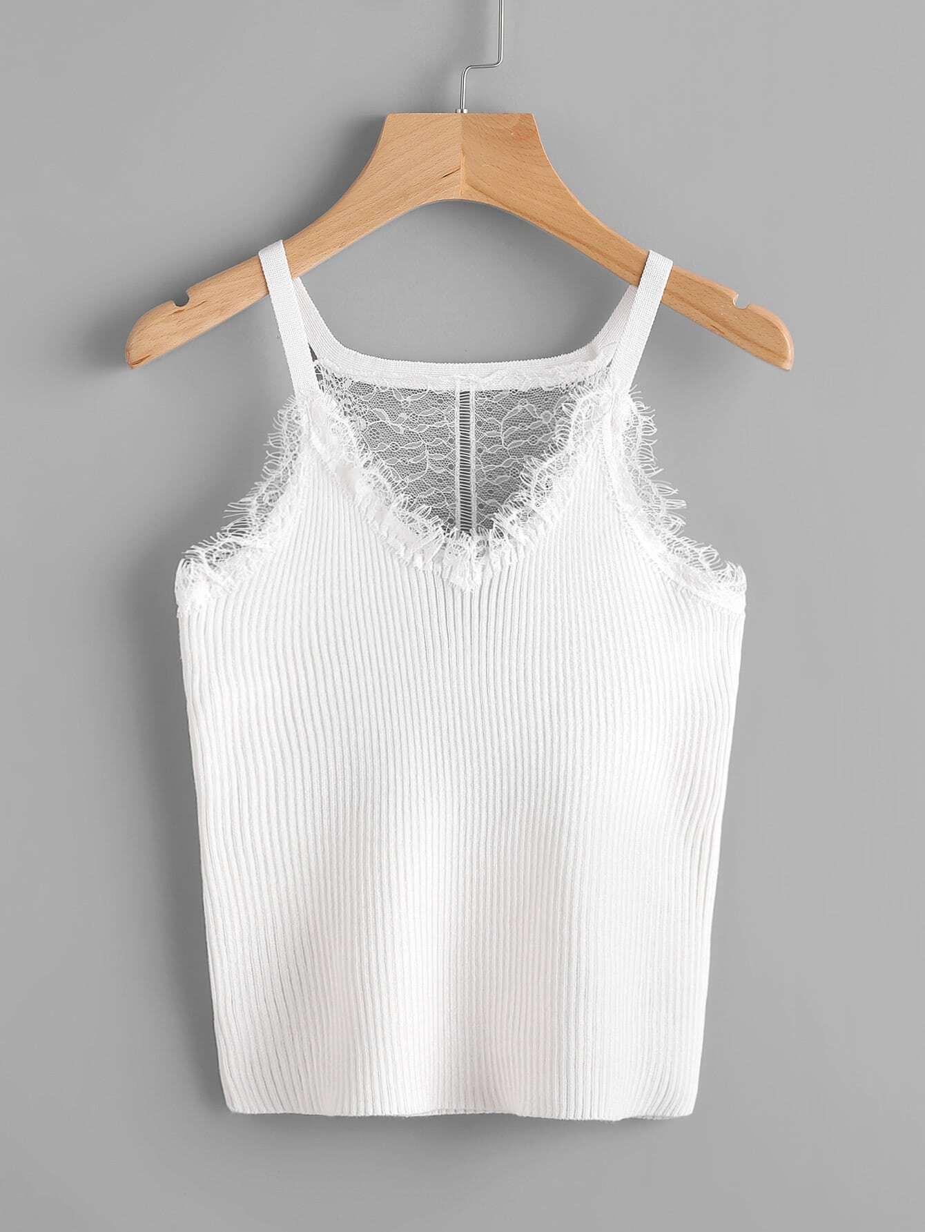 Фото Eyelash Lace Panel Jersey Cami Top. Купить с доставкой