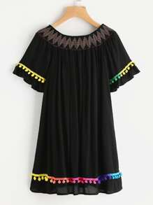 Embroidered Smocked Bardot Neck Pom Pom Trim Dress