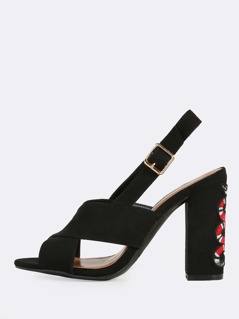 Snake Embroidered Suede Heels BLACK