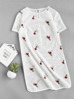 Floral Embroidered Buttoned Keyhole Dolphin Hem Mesh Dress