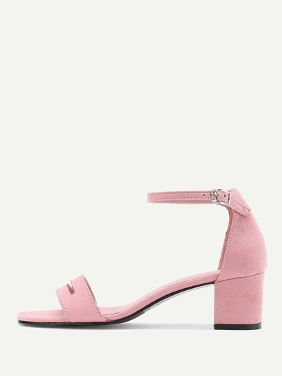 Cut Out Detail Block Heeled Sandals