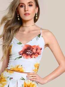 Floral Print Cami Crop WHITE