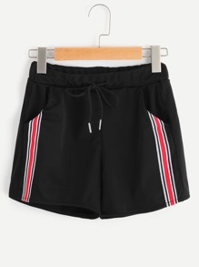 Drawstring Waist Panel Stripe Side Shorts