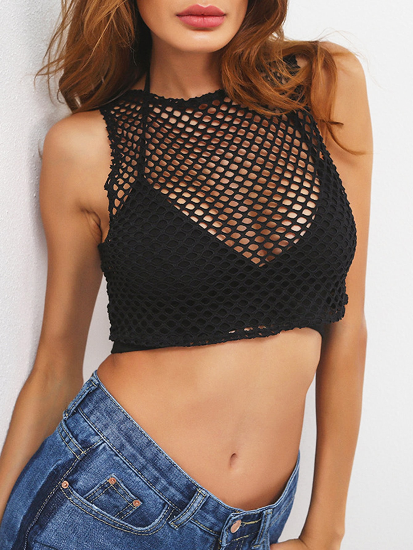 Fishnet Crop Tank Top