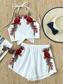 Rose Applique Bow Tie Open Back Top And Shorts Set