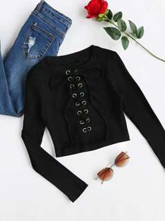 Eyelet Lace Up Front Crop Tee