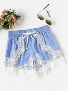 Lace Applique Pinstripe Shorts