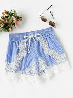 Lace Applique Pinstripe Shorts