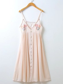 Flower Embroidery Single Breasted Cami Dress