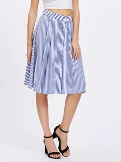 Button Up Pinstripe Skirt