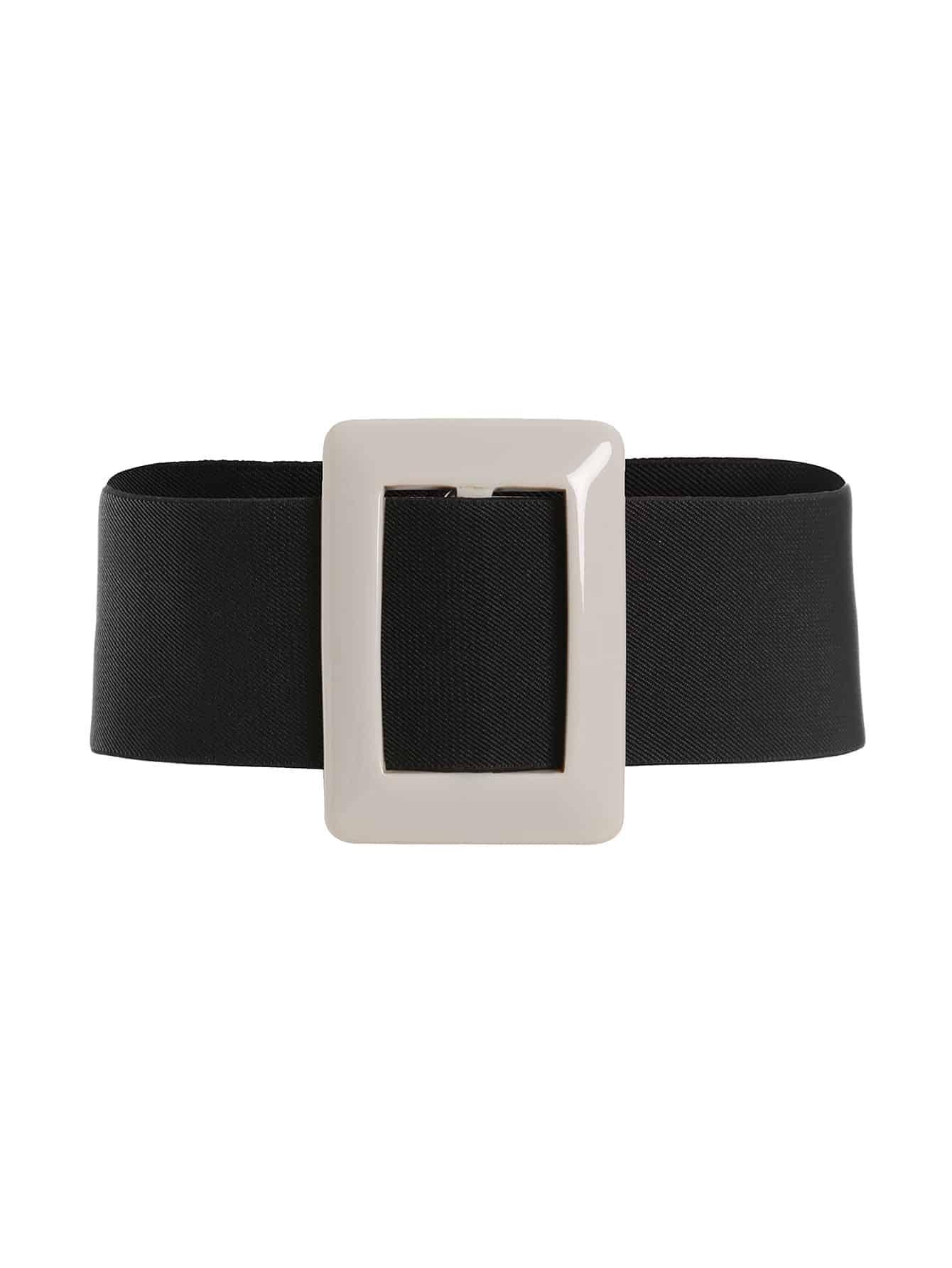 Two Tone Buckle Design Wide Belt