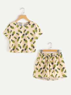 Allover Pineapple Print Top & Shorts Pajama Set