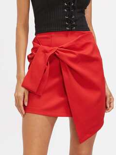 Knot Front Asymmetrical Skirt