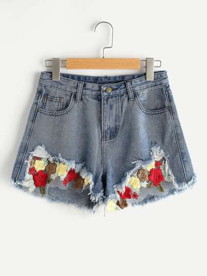 Destroyed Contrast Embroidered Mesh Insert Denim Shorts