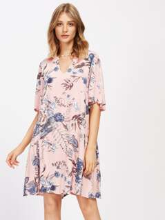 V Cut Front Floral Print Dress