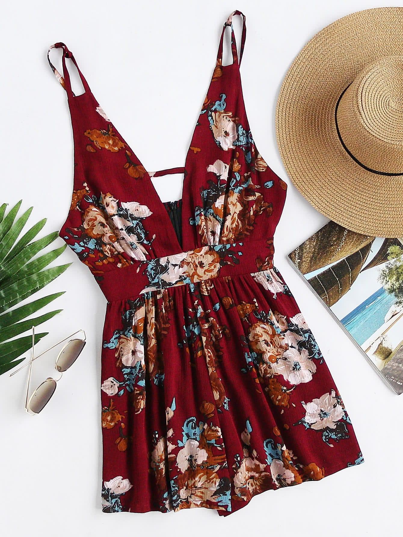 Plunging V-neckline Floral Print Random Backless Cami Romper strappy plunging v neckline crushed velvet cami dress