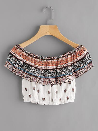 Flounce Layered Neckline Floral Print Pleated Crop Top